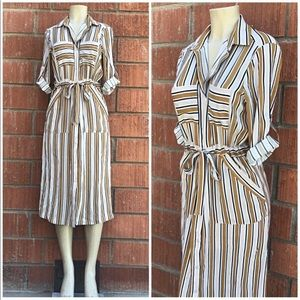 LUSH Nordstrom Striped Camel Midi Shirt Dress